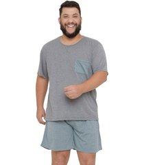 pijama masculino plus size manga curta família listras luna cuore