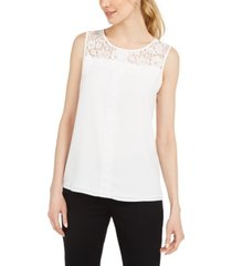 karl lagerfeld paris sleeveless lace-trimmed blouse