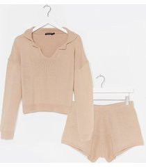 womens knitted collar v neck sweater + short lounge set - oatmeal