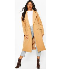 fabric covered buttoned wool look coat, camel