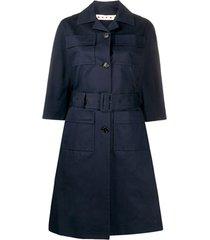marni trench coat com cinto e abotoamento simples - azul