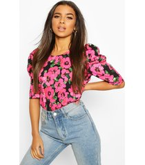 floral puff sleeve shell top, pink