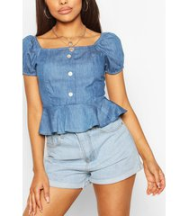 chambray button front frill top, mid blue