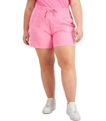 full circle trends trendy plus size crystal-studded shorts