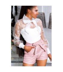 sexy paperbag lederlook-shorts roze