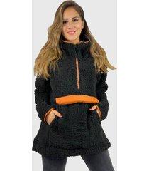 abrigo corderito boho chic negro enigmática boutique