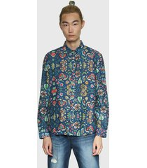 camisa desigual estampada multicolor - calce regular