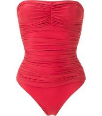 lygia & nanny melissa draped swimsuit - red