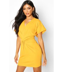crepe twist front mini dress, mustard