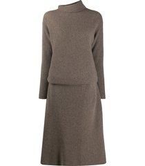 agnona funnel neck ribbed dress - neutrals