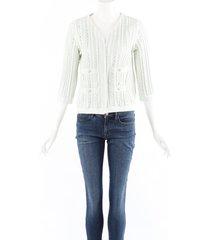 chanel green cotton knit stretch sweater cardigan green sz: s