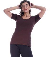 blusa básica amazonia vital manga curta gola canoa feminina - feminino