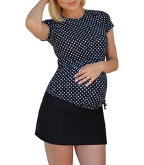 mermaid maternity foldover maternity swim skirt with attached boyshorts, size small in black at nordstrom