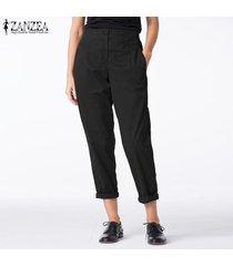 zanzea mujeres elásticos de la cintura de algodón de lino harem damas pockets ocasional de los pantalones -negro