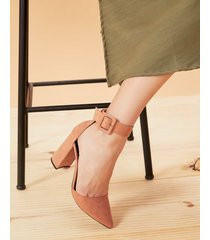 amaro feminino scarpin d'orsay salto flare pulseira, terracota