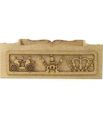 cesta castelo encantado mdf - palha - príncipes e princesas