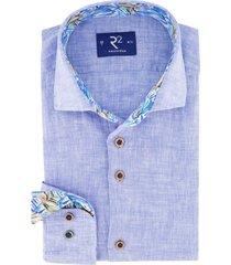 overhemd mouwlengte 7 r2 blauw linnen