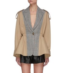 contrast panel single breast ruffle hem jacket