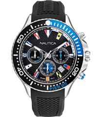 nautica men's pier 25 chrono black, blue silicone strap watch 48mm