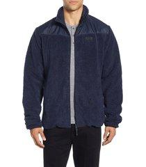 men's helly hansen oslo reversible fleece water repellent jacket, size x-large - blue