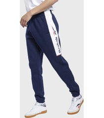 pantalón de buzo reebok cl f linear pants azul - calce regular