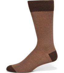saks fifth avenue made in italy men's feed stripe cotton dress socks - brown