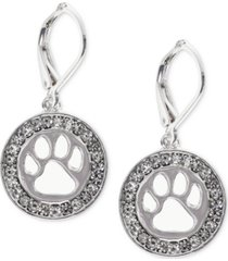 pet friends jewelry silver-tone pave paw-cutout drop earrings