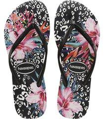 sandalias chanclas para mujer negro slim floral
