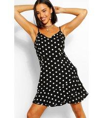 chiffon mini jurk met stippen en geplooide zoom, zwart