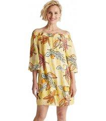 vestido estampado sin hombros amarillo esprit