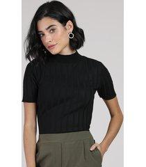 blusa feminina canelada em tricô manga curta gola alta preta
