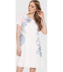 vestido blanco-azul desigual