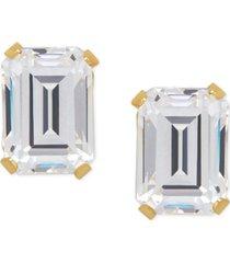cubic zirconia emerald-cut stud earrings in 14k gold