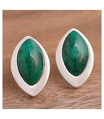 chrysocolla button earrings, 'dazzling diva' (peru)