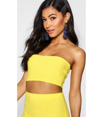 basic jersey bandeau top, geel