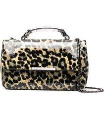 philipp plein patent leather leopard shoulder bag - neutrals