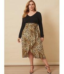 yoins plus talla leopardo con cuello en v cinturón diseño mangas largas midi vestido