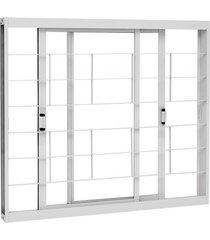 janela de correr grade quadriculada aço - 2 folhas móveis - branco kompacta 100x120x8,1cm - 22226002 - sasazaki - sasazaki