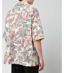 kenzo men's floral seersucker short sleeve shirt - khaki - xl
