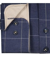 sleeve7 overhemd navy witte ruit flannel modern fit