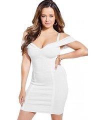 vestido off shoulder mirage rosina blanco guess