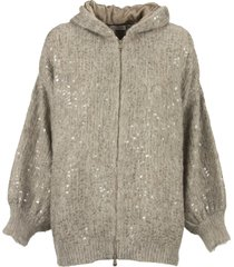 brunello cucinelli dazzling rain embroidery cardigan in mohair and alpaca