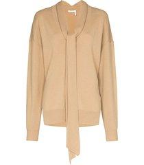 chloé neck-tie cashmere jumper - brown