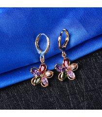 orecchini in zirconi colorati per orecchini a forma di fiore in cristallo placcato oro per le donne