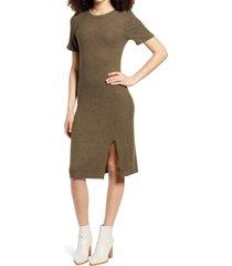 women's socialite slit heathered t-shirt dress, size x-small - green
