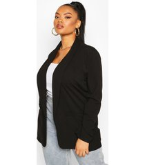 plus lapel ruched cuff blazer, black