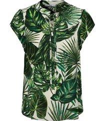 onlalma life poly s/s string top aop 3 t-shirts & tops short-sleeved grön only