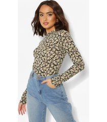 ditsy floral high neck long sleeve top, black