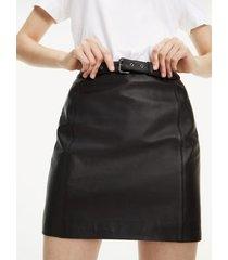 tommy hilfiger women's leather mini skirt meteorite - 8