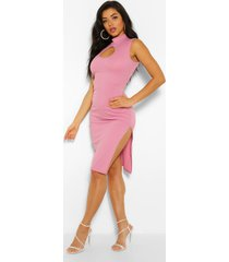 rib cut out side split midi dress, mauve
